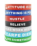Motivational Silicone Wristbands with Inspirational Messages | 7-Piece Silicone Rubber Stretch Bracelets for Men, Women and Teens. Attitude is Everything, Carpe Diem, Imagine Believe Achieve and More.