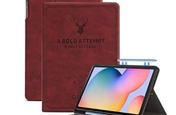 Robustrion Deer Pattern Flip Stand Case Cover with S Pen Holder for Samsung Galaxy Tab S6 Lite Tablet Cover 10.4 inch SM-P610/P615 – Deer Vine Red