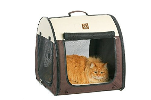 "One for Pets Fabric Portable Dog Cat Kennel Shelter, Double, Grey/Brown 20""x20""x39"""