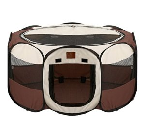 Parkland Pet Portable Foldable Playpen Exercise Kennel Dogs Cats Indoor/Outdoor Removable Mesh Shade Cover, Large
