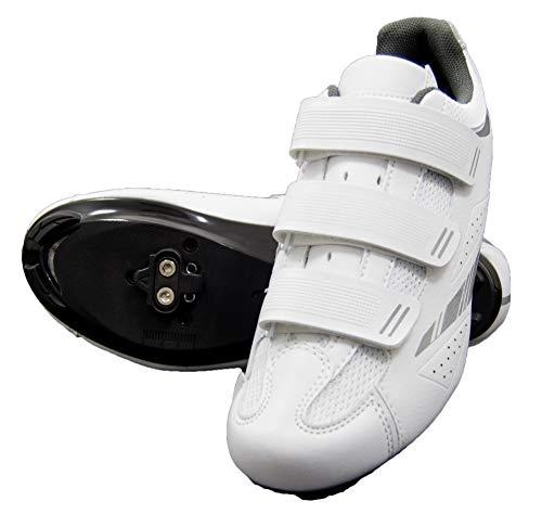 tommaso Pista Women's Spin Class Ready Cycling Shoe Bundle - White/Silver - SPD - 43
