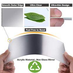 12 Pieces Self Adhesive Acrylic Mirror Sheets, Flexible Non Glass Mirror Tiles Mirror Stickers for Home Wall Decor, 6″ x 6″ and 6″ x 9″