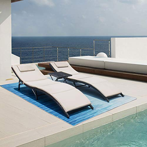 Victone 3 Pieces Patio Chaise Lounge, Pool Chaise Lounge Chairs In Water