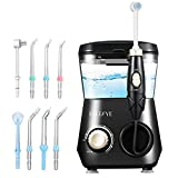 Water Flosser, ELLESYE 600ml Oral Irrigator with 7 Multifunctional Jet Tips & 1 Toothbrush Head for Home & Family, Dental Oral Irrigator for Teeth Cleaning & Braces Care, Adults & Kids Use Black