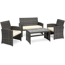Best Choice Products 4-Piece Wicker Patio Furniture Set w/Table, Tempered Glass, 3 Sofas, Cushioned Seats – Gray