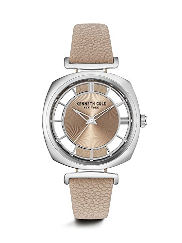 Transparency Collection in 3 hand with Light Brown Genuine Leather Strap Silver Metal Case, Light Grey Dial Quartz Movement