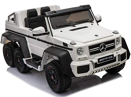 Mercedes G65 Licensed Ride On Electric Toy Car for Kids and Parents 12V10Ah Battery Powered LED Lights MP3 RC Parental Remote Controller Leather Seat Suitable for Boys & Girls White