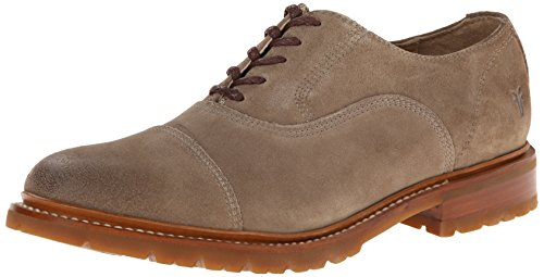 41AJve4u0BL Balmoral oxford in suede with cap toe and logo at heel Stacked heel and lug sole