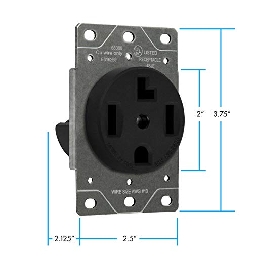 ENERLITES-30-Amp-Dryer-Receptacle-Outlet-for-Electric-Dryers-NEMA-10-30R-Residential-Commercial-Industrial-Grade-OutdoorIndoor-3-Pole-3-Wire-No-Ground-Contact-10864-AWG-UL-Listed