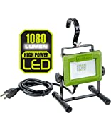 PowerSmith PWL110S 1080 Lumen LED Work Light Stand and Large Adjustable Metal Hook, Compact Green
