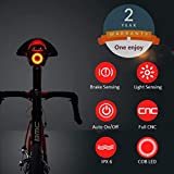 Smart Bike Tail Light Ultra Bright, Bike Light Rechargeable Auto On/Off, IPX6 Waterproof LED Bicycle Lights, High Intensity Rear Accessories Fits Any Road Bikes