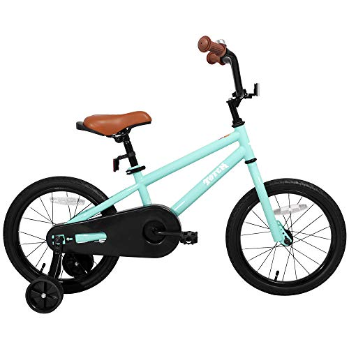 JOYSTAR Kids Bike for Boys 3 4 5 6 Years Old, 14 Inch Kids Bicycle with Training Wheels, Child Bicycle with Foot Brake, Children Cycle - Green