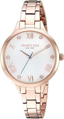 41ANowe5%2B9L Kenneth Cole New York Ladies Classic Dress Watch Rose gold case and bracelet with stone accented dial Analog-quartz Movement