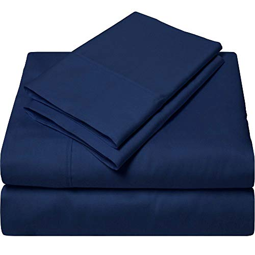 King Size Sheets Luxury Soft 100% Egyptian Cotton - Sheet Set for King Mattress Navy Blue Solid 15' Deep Pocket # Exotic Bedding Collection