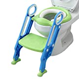 Mangohood Potty Training Toilet Seat with Step Stool Ladder for Boy and Girl Baby Toddler Kid Children's Toilet Training Seat Chair with Soft Padded Seat and Sturdy Non-Slip Wide Step (Blue Green)