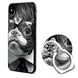 Boston Terriers in Wigs iPhone X Case Soft TPU Protective Case with Finger Ring Grip Kickstand for for Apple iPhone X