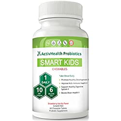 KIDS PROBIOTICS DOCTOR APPROVED - SMART KIDS 60 chewable probiotic: DESIGNED FOR CHILDREN WITH ALLERGIES: 6 Billion CFUs to Boost Your Child's Brain Health and Immunity-Recommend with Vitamins