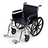 Medline Excel Extra-Wide Wheelchair, 20' Wide Seat, Full-Length Arms, Swing Away Footrests, Chrome Frame