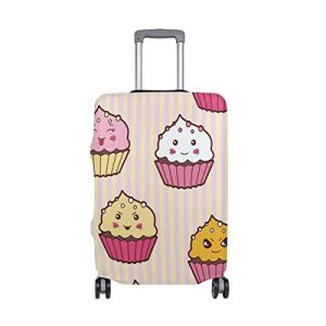 ALINLO Funny Emoji Cartoon Cup Cake Pattern Luggage Cover Baggage Suitcase Travel Protector Fit for 18-32 Inch 41AWedDLSbL