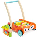 cossy Wooden Baby Learning Walker Toddler Toys for 1 Year Old, Fox Blocks and Roll Cart Push and Pull Toy (34 pcs)