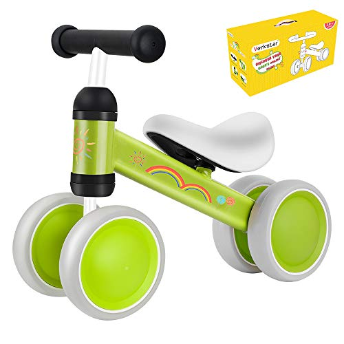 Verkstar Baby Balance Bikes Toddler Bike 10-24 Months No Pedal Bicycles Tricycles Infant Walker Non-Slip Bikes for Boys Girls Birthday (Green 2)