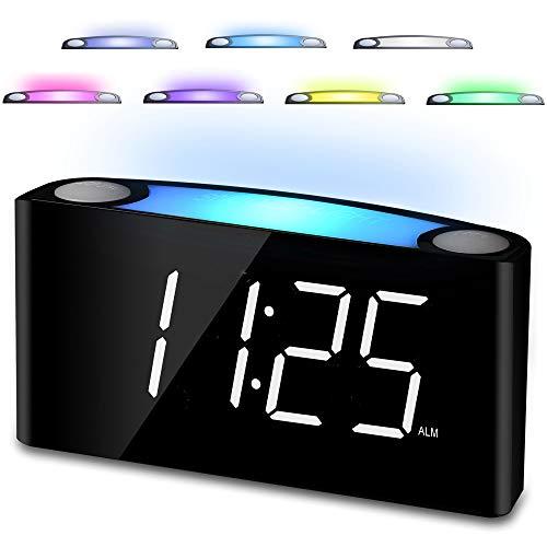 "Digital Alarm Clock for Bedrooms, 7"" LED Large Display & Slider Dimmer, 12/24 H, 2 USB Chargers, Loud Alarm for Heavy Sleeper, 7 Color Night Light Alarm Clock for Kids Boy Girl Travel Desk Nightstand"