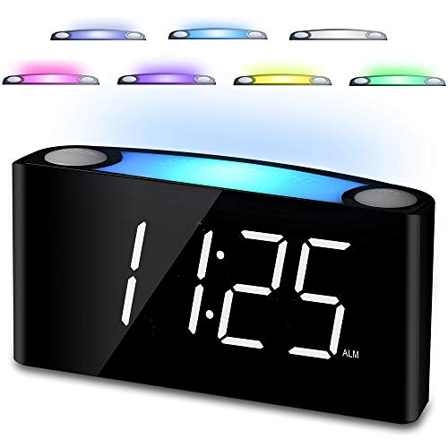 "Digital Alarm Clock for Bedrooms, 7"" LED Large Display & Slider Dimmer, 12/24 H, 2 USB Chargers, Loud Alarm for Heavy Sleeper, 7 Color Night Light Alarm Clock for Kids Boy Girl Travel Desk Nightstand"