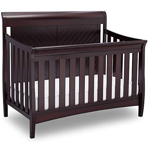 Delta Children Bennington Elite 4-in-1 Convertible Baby Crib, Dark Espresso, Sleigh