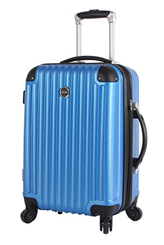 Lucas Outlander Carry On Hard Case 20 inch Expandable Rolling Suitcase With Spinner Wheels (20in, Blue)