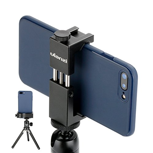 Ulanzi ST-02S Newest Aluminum Phone Tripod Mount w Cold Shoe Mount, Support Vertical and Horizontal, Universal Metal Adjustable Clamp for iPhone XS Xs Max X 8 7 Plus Samsung Huawei Android Smartphones