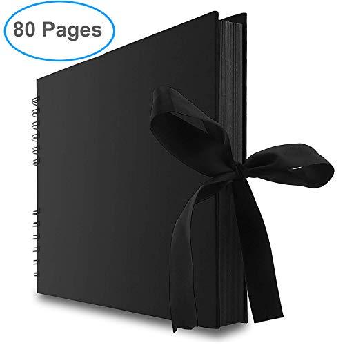 Gotideal 80 Pages DIY Scrapbook Album Craft Paper Wedding and Anniversary Photo Album Family Scrapbook DIY Accessories and Scrapbooking Supplies(Black)…