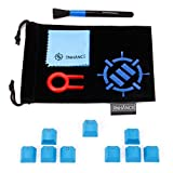 ENHANCE Doubleshot PBT Keycaps Set Gaming Upgrade Kit - Backlit Clear WASD Keycaps Compatible with Mechanical Switches - Keycap Puller, Dust Brush and Microfiber Cloth - Blue