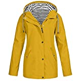 Loosebee‿ Rain Jackets for Women Plus Size Zipper Raincoats Hoodie Solid Long Sleeve Waterproof Windproof Outdoor Coats Yellow
