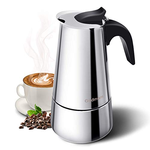Godmorn Stovetop Espresso Maker, Moka Pot, 300ml/10oz Percolator Coffee Maker: Classic Cafe Maker made of 430 stainless steel, suitable for induction cookers (espresso cooker)