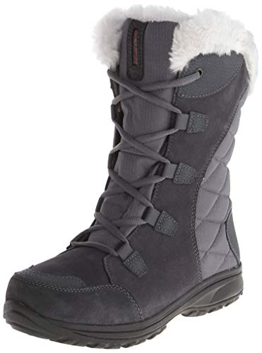 Columbia Women's ICE Maiden II Snow Boot, Shale, Dark Raspberry, 6.5 B US