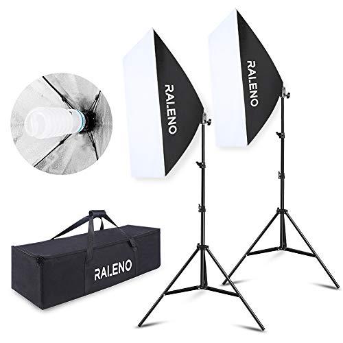 RALENO Softbox Photography Lighting Kit 20″X28″ Photography Continuous Lighting System Photo Studio Equipment with 2pcs E27 Socket 5500K Bulb Photo Model Portraits Shooting Box