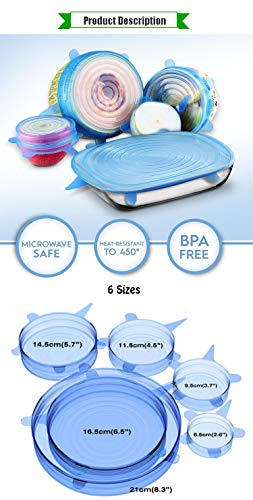 Reusable-Silicone-Stretch-Lids-6-Pack--Replacement-Lids-for-Long-Lasting-Freshness-Eco-Friendly-Plastic-Cling-Wrap-Alternative-Spill-Proof-Silicone-Covers-Food-Saver-Freezer-Microwave-Safe