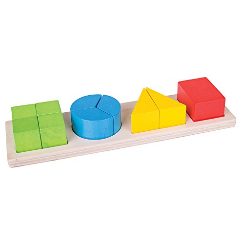 Bigjigs Toys Educational Wooden Shapes Fraction Board