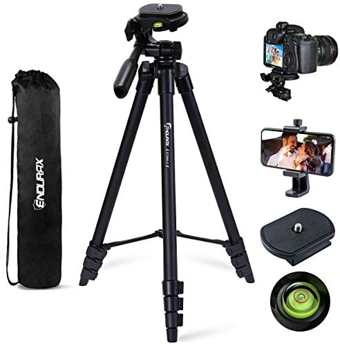 "Endurax 60"" Camera Phone Tripod Stand for DSLR Canon Nikon with Universal Phone Mount, Bubble Level and Carry Bag"
