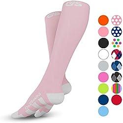 Go2Socks Compression Socks for Men Women Nurses Runners 20-30 mmHg (high) - Medical Stocking Maternity Travel - Bet Performance Recovery Circulation Stamina - (2Pink,L)