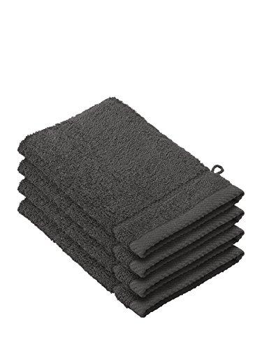 De-Witte-Lietaer-194690-Stephanie-Waschhandschuh-Set-4-Waschhandschuhe-aus-Baumwolle-dunkelgrau-540-gm-15-x-22-x-1-cm