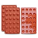 homEdge Mini 24-Cavity Semi Sphere Silicone Mold, 3 Packs Baking Mold for Making Chocolate, Cake, Jelly, Dome Mousse
