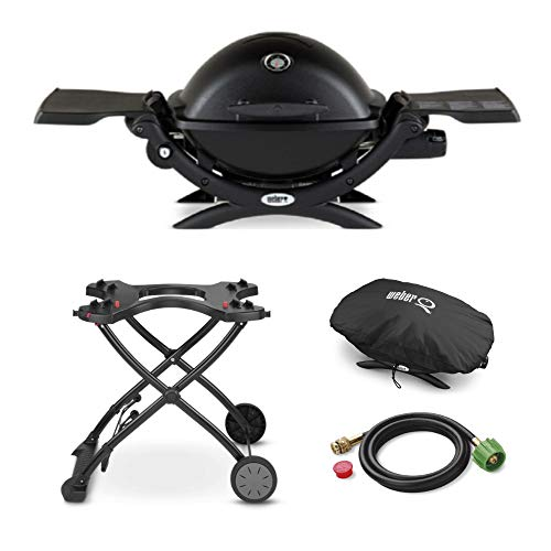 Weber Q 1200 Gas Grill Deluxe Bundle; Includes Grill, Portable Cart, Premium Cover and 6 Ft Adapter Hose