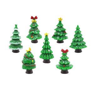 EMiEN 7 Pieces Christmas Trees Miniature Ornament Kits for DIY Fairy Garden Dollhouse Decoration, Christmas Scene Fairy Garden Accessories Mini Garden House Supplies Décor Additions DIY 41B2XMopwqL
