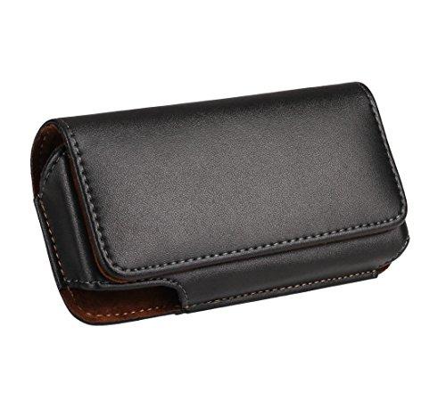 Yuzihan iPhone SE 5 5S 5C Belt Pouch Holster Premium Leather Belt Holster with Belt Clip Belt Loop Fit with Slim Case/Otterbox Commuter Case/Spigen Case On