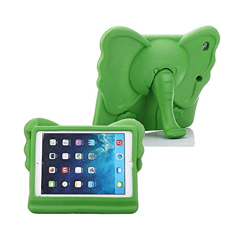 iPad Mini Kids Case, Tading Non-Toxic Child Friendly Light Weight EVA Foam Shockproof Super Protection Tablet Cover Holder with Kickstand for iPad Mini/ Mini 2/ Mini 3/ Mini 4 - Elephant Design, Green