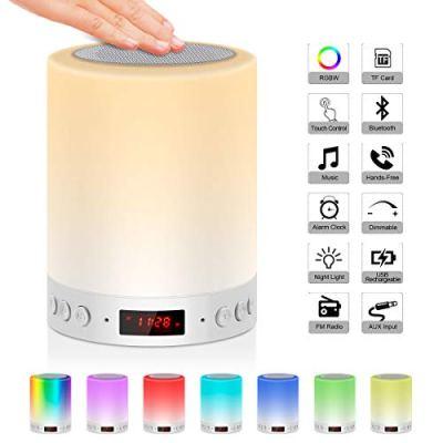 Lampada Altoparlante Bluetooth, JOLVVN Luce Notturna Bambino MP3 Musica Lampada Comodino Atmosfera RGBW Mood Lights Speaker Lampade Buonumore Orologio Digitale FM Audio Sveglia Toccare Dimmerabile