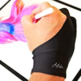 Articka Artist Glove for Drawing Tablet (No Fouling, Two-Finger, Avoids Friction, Elastic Lycra, 1 Unit Good for Right and Left Hand, Free Size)