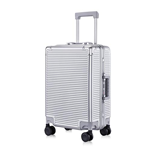 Carry-On Deep Hardside Aluminum Frame Luggage, 20' Suitcase with Great Intensity, Scratch-Resistant Business Trip, Equipped with Two Locks, Silver