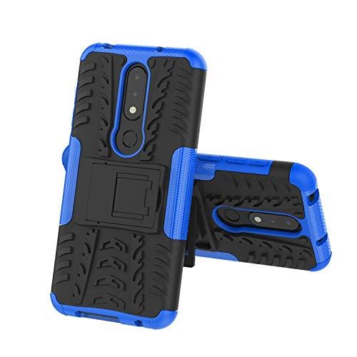 Prime Retail Nokia 6.1 Plus Hybrid Armor Back Cover Case with Kickstand Wheel Pattern for Nokia 6.1 Plus(Blue) 3